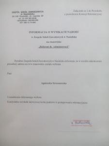 Informacja o wynikach naboru na stanowisko Referent ds. Administracji